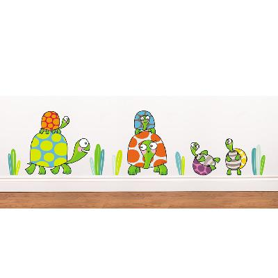 Sticker mural famille tortues