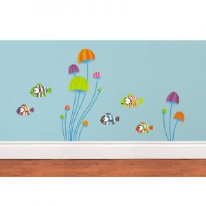 Sticker mural mini poissons