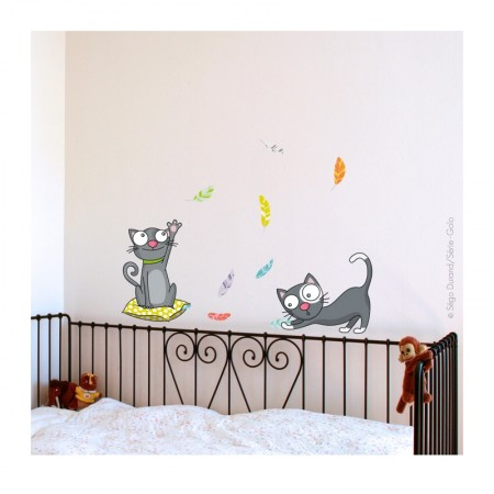 Sticker mural Chatons