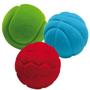 Lot de 3 balles éveil velours sporty